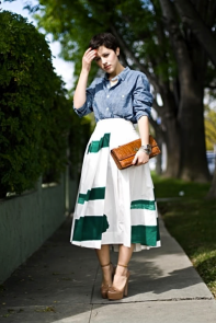 midi-skirt-green-printed