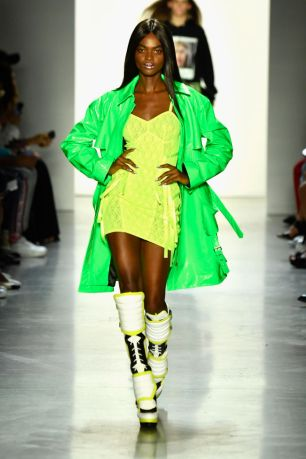 A model walks the runway for Jeremy Scott during New York Fashion Week: The Shows at Gallery I at Spring Studios on September 6, 2018 in New York City.